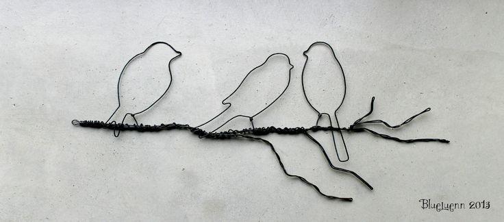 Oiseaux sur branche fil de fer - wire birds