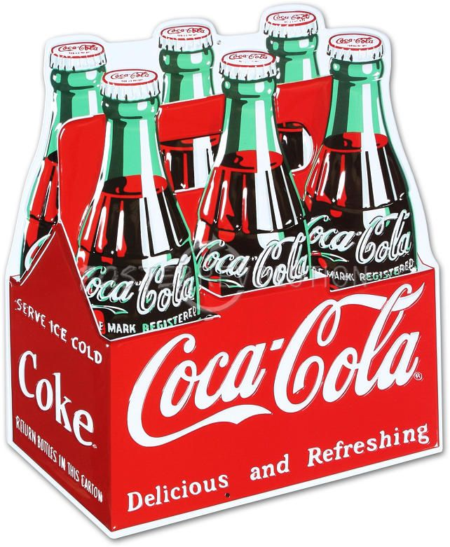784c8d8b5a03 Coca Cola Coke Carton 6-Pack Bottles Retro Vintage Die Cut Embossed ...