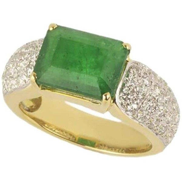 Preowned Emerald & Diamond Dress Ring 3.78 Carat (12.980 BRL) ❤ liked on Polyvore featuring jewelry, rings, cocktail rings, green, diamond rings, emerald cocktail ring, statement rings, emerald-cut rings and emerald diamond ring