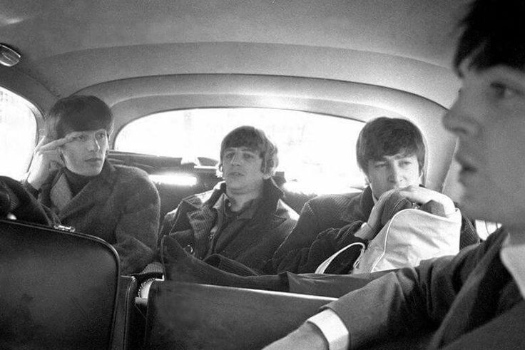 The Beatles in a car c. 1964