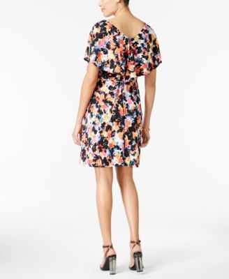 Ny Collection Flutter-Sleeve A-Line Dress - Floral XS