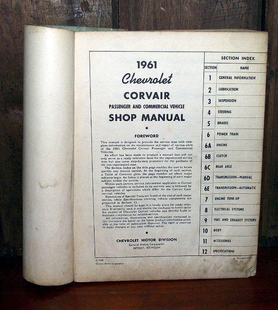 Chevrolet Corvair Shop Manual 1961 by DaytonaVintage on Etsy, $37.45