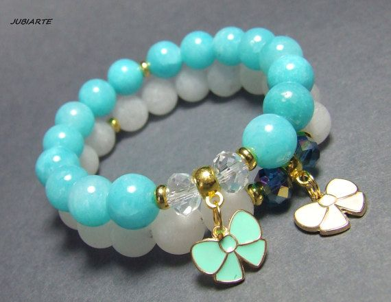 CLOUDS Set of Bracelets Jade Bracelets Gemstone by JUBIARTE
