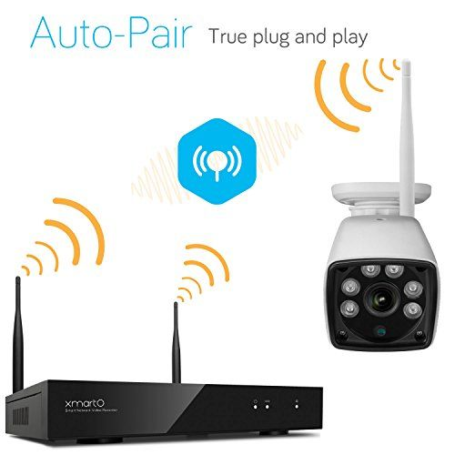 nice xmartO WVS1044 4 Channel 720p HD Wireless Security Camera System with 4x 720p HD Weatherproof Day Night Wireless IP Cameras (Auto-Pair, NVR Built-in Router)