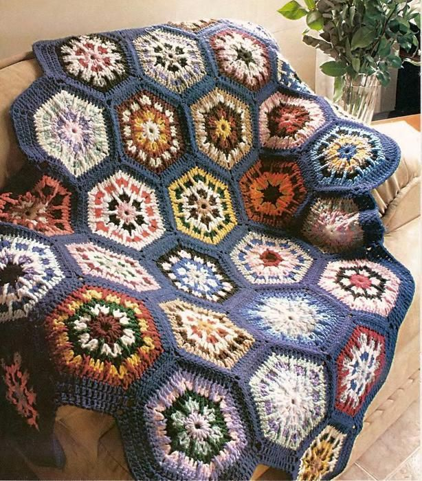 Free Crochet Mosaic Afghan Pattern : Color Mosaic Harbor Throw free crochet graph pattern ...
