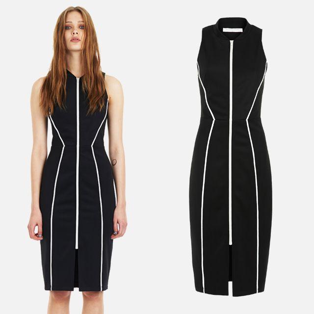 Zip Front Dress - Black