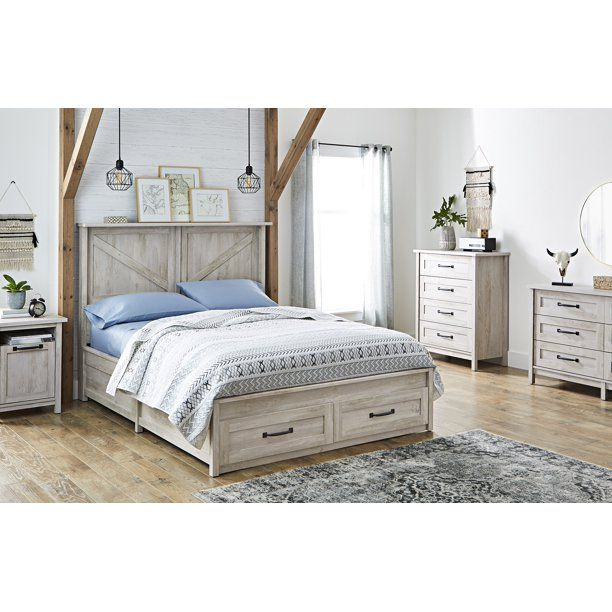 Better Homes Gardens Modern Farmhouse Platform 2 Drawer Storage Bed Twin Rustic Gray Walmart Com Platform Bed With Storage Bed Storage Home