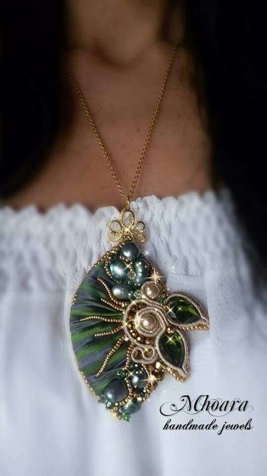Shibori silk pendant 'Bahira' arabian style design by Mhoara Jewels