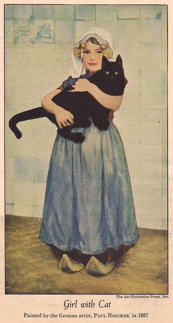 Girl with Cat by Paul Hoecker (1887). Paul Hoecker (b. August 11 1854 in Upper Langenau, County Habelschwerdt in Silesia , d. January 13th 1910 in Munich ) was a German painter of the Munich school and founding member of the Munich Secession.