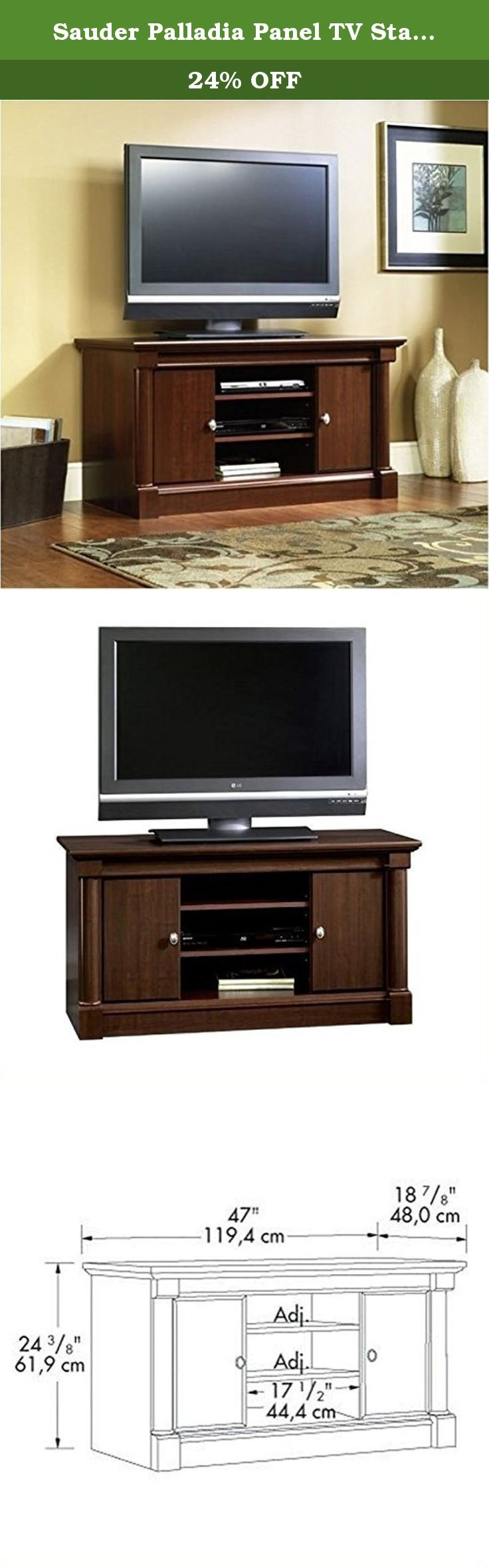 "Sauder Palladia Panel TV Stand, Select Cherry Finish. The Palladia Panel TV Stand in Select Cherry Finish by Sauder. Accommodates up to a 50"" TV weighing 95 lbs. or less. Two adjustable shelves hold audio/video equipment. Adjustable shelf behind each door holds DVDs and CDs. Palladia will be an instant classic in your room."