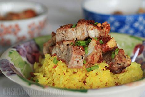 Spicy pandan-yogurt rice with crisp roast pork belly | Recipe