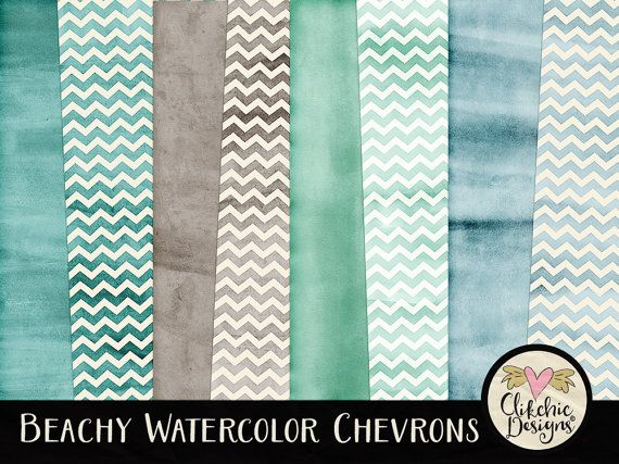 Watercolor Digital Paper Pack - Chevron Beachy Watercolor Digital Scrapbook Paper - Beach Chervron Themed Textures by ClikchicDesign #photoshop #graphic #design by Clikchic Designs