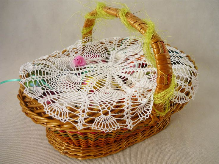 crochet napkin on Easter basket  from MariArt by DaWanda.com Round napkin hand-made on crochet #Easter #Easterbasket #MariAndAnnieArt #Wielkanoc #koszyk