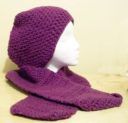 Hand crocheted hat and scarf