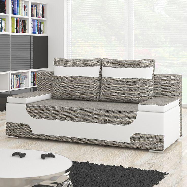 Canapé 2 places convertible gris et blanc | Sofamobili