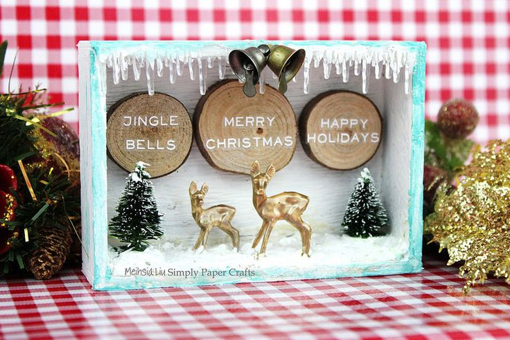 Meihsia Liu Simply Paper Crafts Mixed Media Christmas Box Tim Holtz Simon Says Stamp Monday Challenge 7