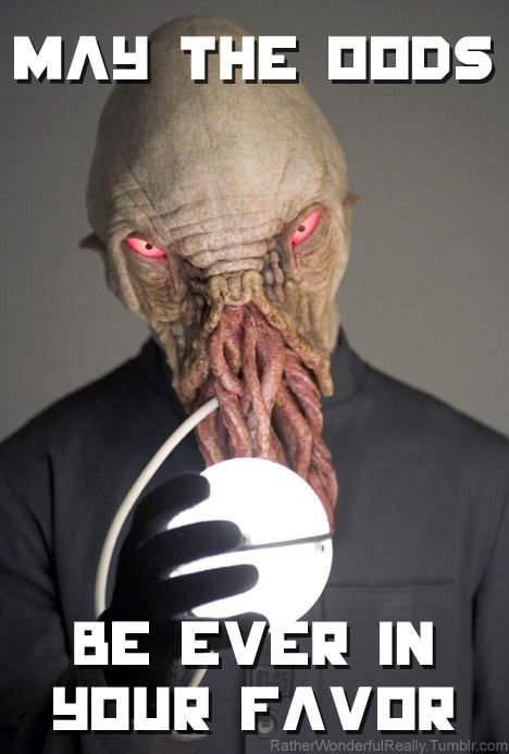"""Hunger Games + Doctor Who :) lol. You could do a Doctor Who + Star Wars. """"May the Ood Be With You."""""""