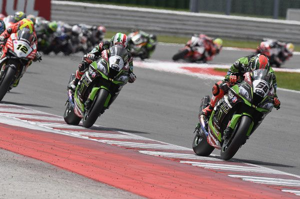 Tom Sykes Photos Photos - Tom Sykes of Great Britain and Kawasaki Racing Team leads Jonathan Rea of Great Britain and KAWASAKI RACING TEAM during the Race 2 during the FIM Superbike World Championship - Race at Misano World Circuit on June 19, 2016 in Misano Adriatico, Italy. - FIM Superbike World Championship - Race
