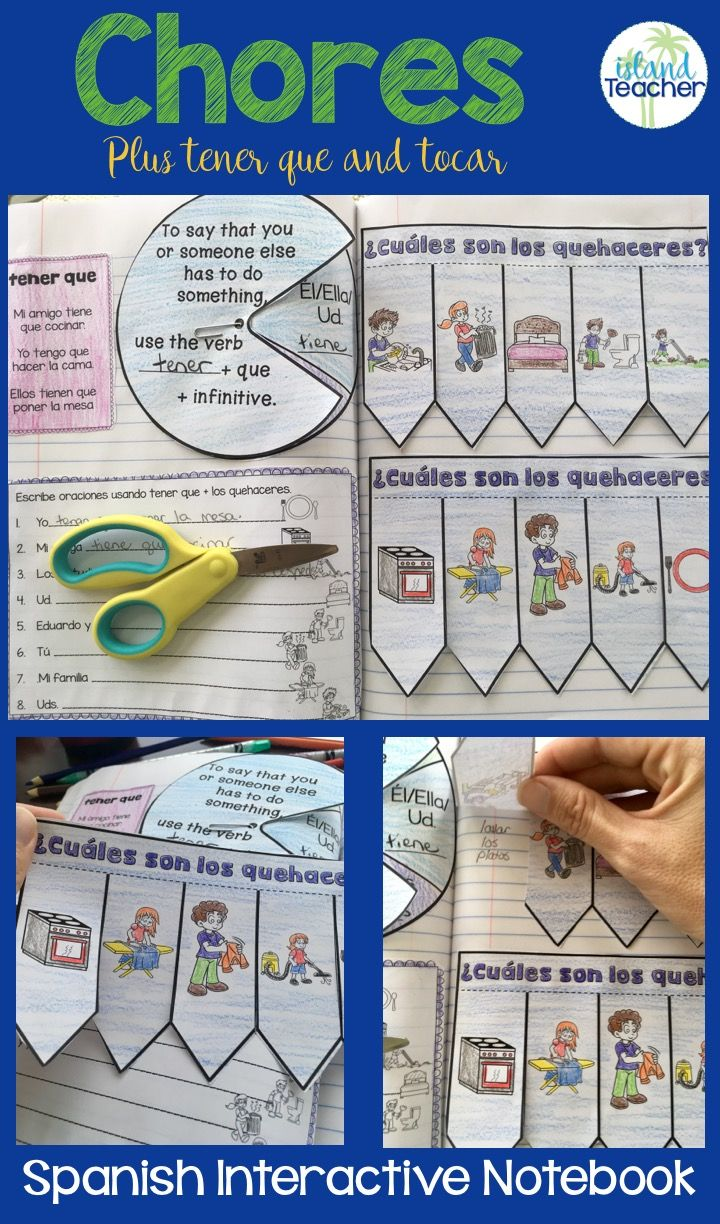 Spanish Interactive Notebook activities for teaching chores along with tener que and tocar