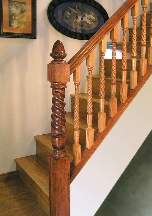 Oak Traditional: Post To Post With Closed Stringer, Acorn Finial Newel U0026  Square Top
