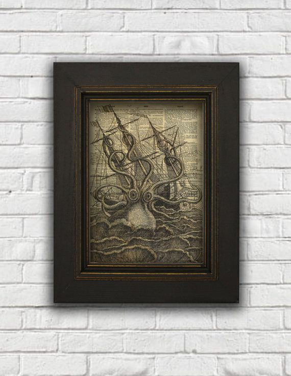 Kraken Dictionary Art Print Kraken Art by FauxAntiquesFoYou