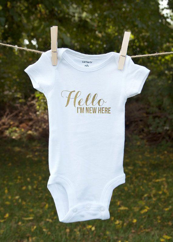 Hello I'm New Here Onesie Glitter Newborn by FirstLoveThreads