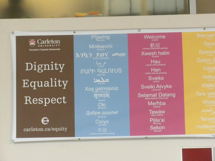 Someone (or a group) in a leadership role decided that Carleton should be promoted as inclusive and welcoming. Thousands pass under these words (and flags of the world) daily - I hope they notice. Jackie C.