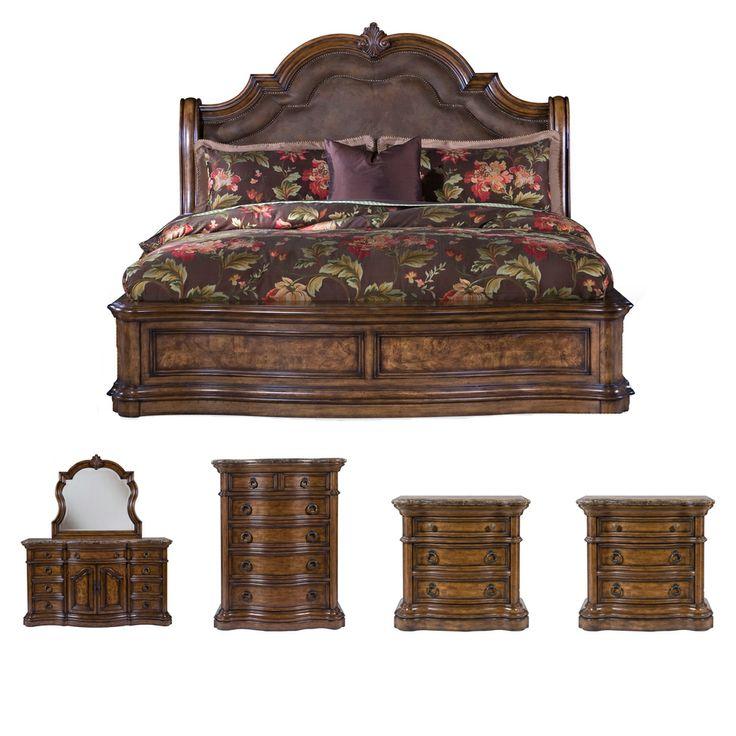 Montana 6 piece platform queen size bedroom set for Best deals on bedroom sets