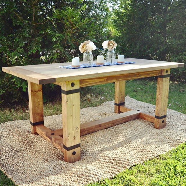 Rustic Industrial Farmhouse Table modified Shanty2Chic plans husband a
