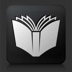 Black Square Button with Open Book vector art illustration