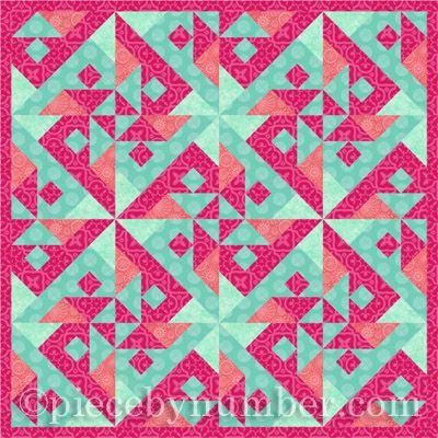 Parrot's Puzzle quilt example - pastels version 1