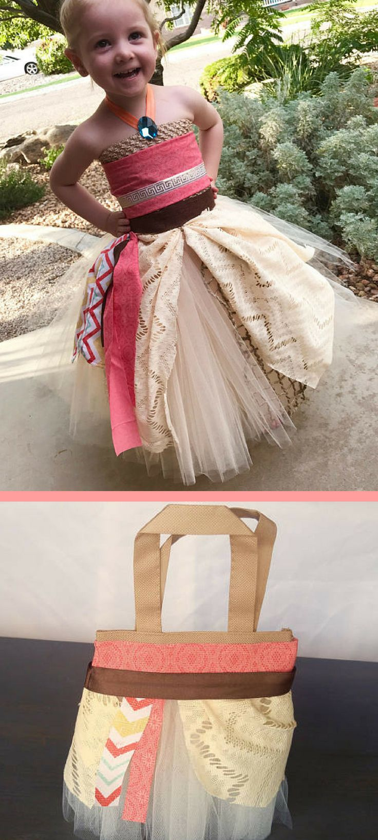 Adorable Moana Halloween Costume and bag