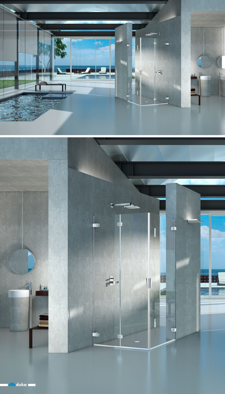 pura 5000 • This solution exhibits a custom made shower enclosure with a bi-folding door in combination with a pivot door. A beautiful shower enclosure with a touch of contemporary design for your modern bathroom!