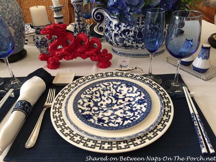 Blue and White Table Setting for a Special New Year's Eve Dinner – Between Naps on the Porch