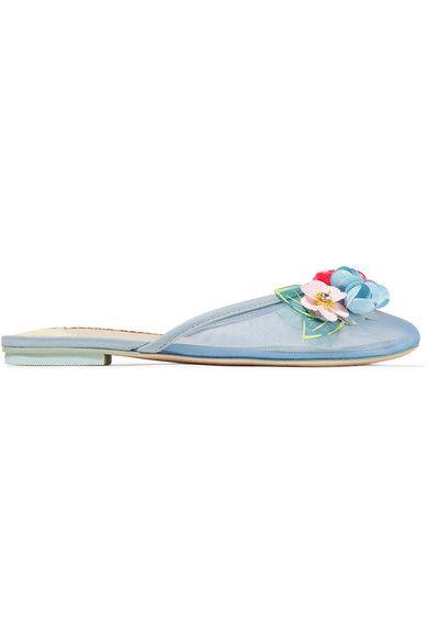 Sophia Webster - Lilico Leather-trimmed Embellished Mesh Slippers - Blue - IT