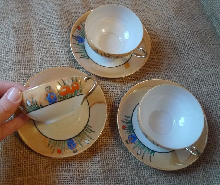 Old China Luster Japan pottery Dai Nippon 3x Cup & saucer Set marked hieroglyphs