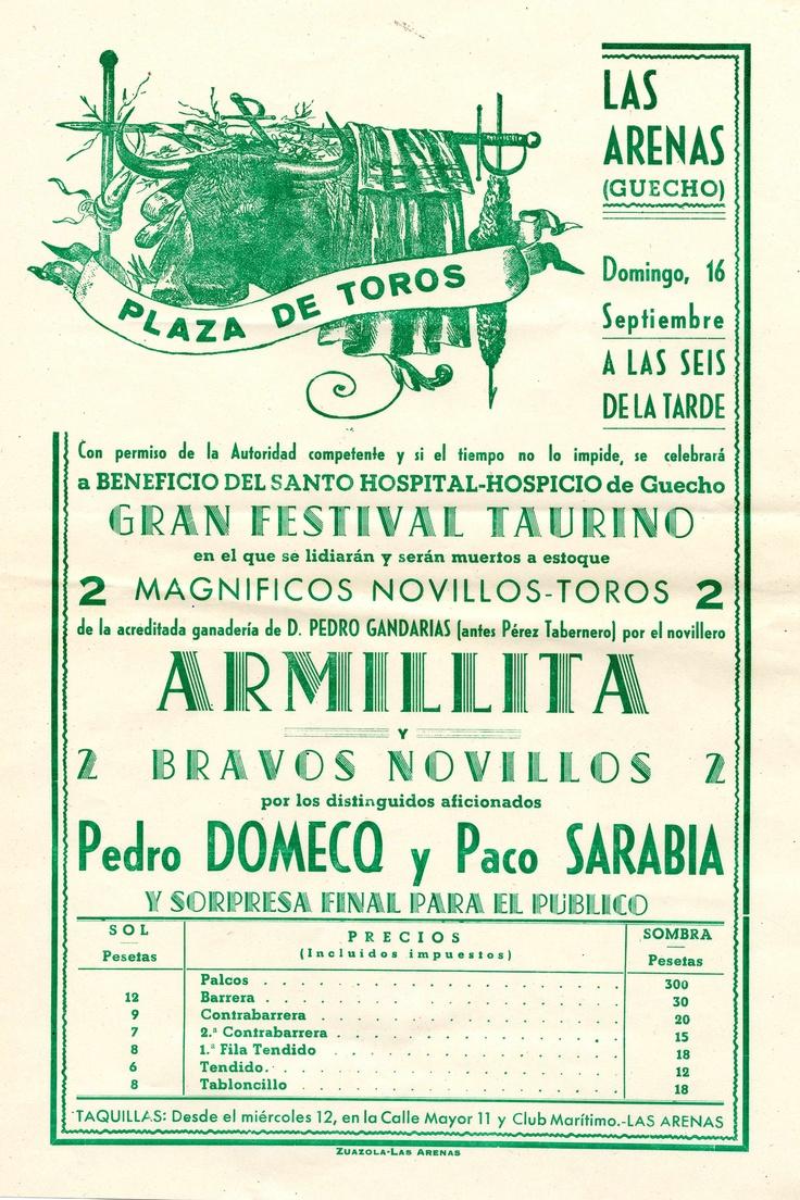 Cartel anunciador de una corrida en la plaza de toros de Las Arenas, posiblemente 1945  (ref. D0091)