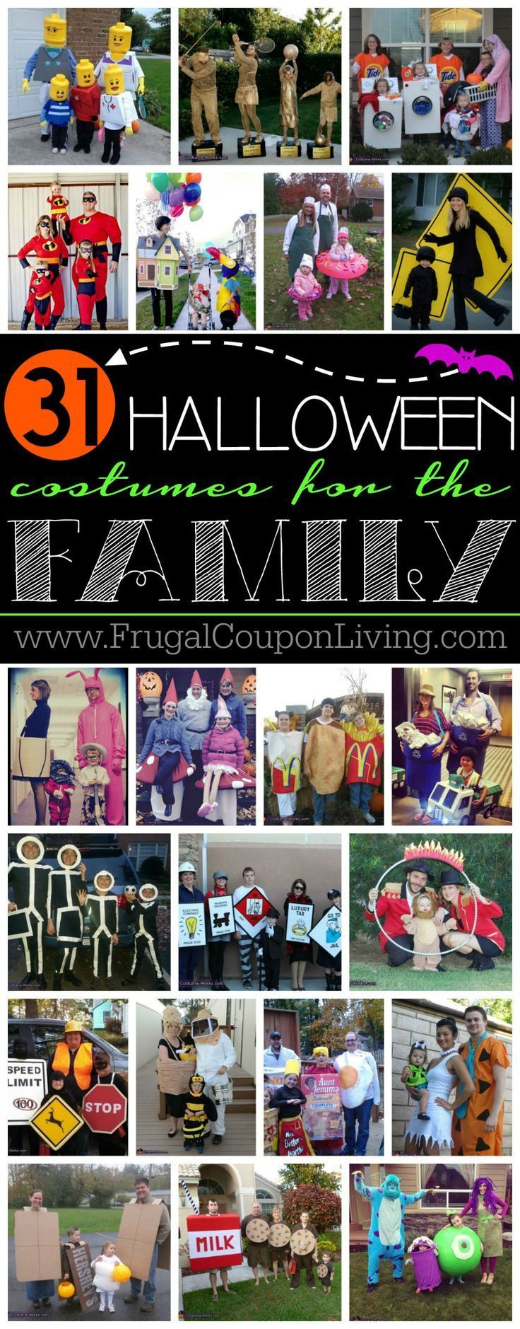 31 Family Halloween Costume Ideas and Where to Buy on Frugal Coupon Living - some of these Halloween Costumes for the Family are very easy, some a bit more challenging and creative costumes.