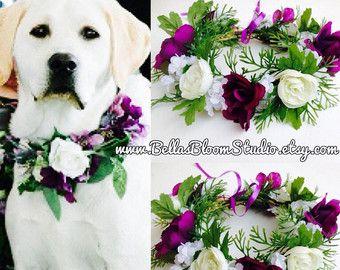 Dog Of Honor Dog wedding collar Pet Wedding Attire Dog flower crown wreath Dog flower girl Dog collar purple dog wedding attire etsy wedding - Edit Listing - Etsy