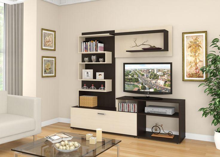 Стенка Санта (1) - оригинальный дизайн, легкость и компактность - придадут вашей комнате новые очертания. Множество функциональных поверхностей без единой лишней грани сохранят больше пространства в Вашей комнате, а сочетание светлых и темных цветов выгодно оттенят интерьер, создав атмосферу комфорта и уюта. Экологически-чистые материалы, наличие места под телевизор и аудиосистему, а так же удобный ящик для хранения - все это делает стенку Санта идеальным приобретением для любой гостиной.