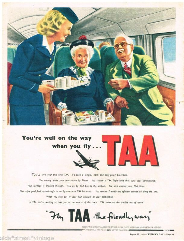 TAA Trans Australia Airlines Vintage 1949 Advert
