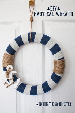 #DIY Spring Wreath Idea | Nautical Anchor Wreath from @Tiffany Hewlett {Making The World Cuter} | Supplies available at Joann.com | #craftmonthlove