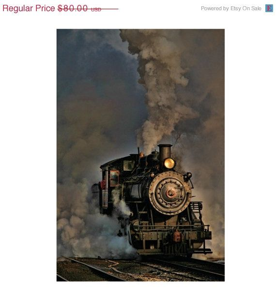 SALE - 20% OFF - Steam Engine - Train Photograph - Vintage - Fine Art Photography - Home Decor - Shabby Chic - Wall Art - Art Print - Train on Etsy, $64.00