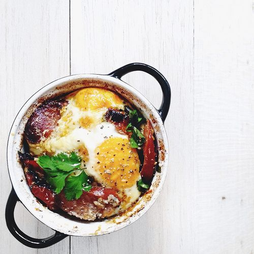 Baked Eggs with Mushrooms, Tomatoes and Sausages
