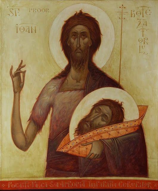 Icoane Toma Chituc; Sfantul Prooroc Ioan Botezatorul tehnica mixta pe panza, 60x50 cm