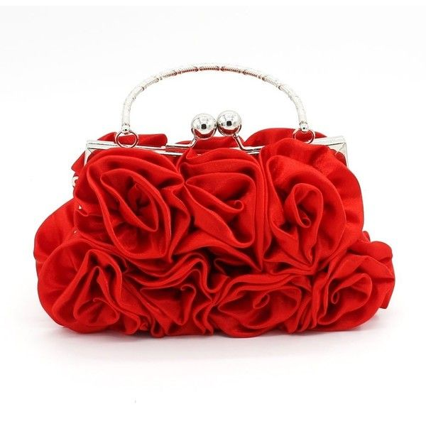 Kingluck Silk Shell with Flower Evening Handbags/ Clutches/ Top Handle... ($12) ❤ liked on Polyvore featuring bags, handbags, clutches, handle bag, evening bags, top handle handbags, red evening bag and top handle bags