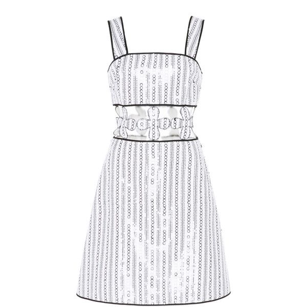 Huishan Zhang Lilly Mini Dress ($1,345) ❤ liked on Polyvore featuring dresses, black, cutout dresses, white cut out dress, mini dress, sequin cut out dress and cut-out dresses