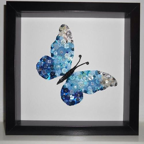 """Framed Butterfly Button Art * """"If it wasn't for change, there would be no butterfly"""". *K"""