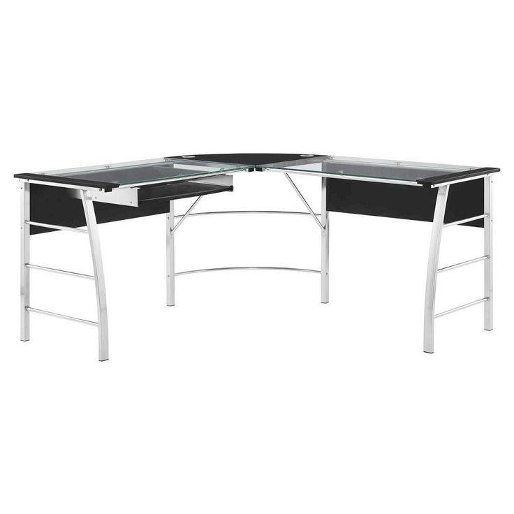 Wingate L Shaped Corner Desk   Glass, Black   Altra