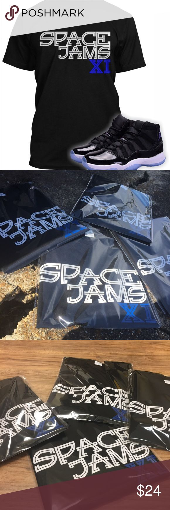 Space Jams Tee To Match Jordan 11 Shoes Space jams tee designed to match the Air Jordan 11 Space Jams Sneakers. Shirts are 50/50 polyester cotton blend. ShirtLife Clothing Shirts Tees - Short Sleeve